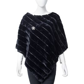 Black Colour Faux Fur Poncho and Brooch (Size 95x78 Cm)