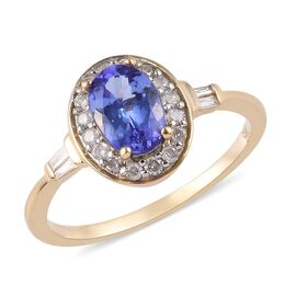 9K Yellow Gold AAA Tanzanite and Diamond Halo Ring 1.00 Ct.