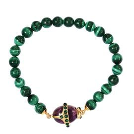 Sundays Child-  Special Order - Malachite, Amethyst and Boi Ploi Black Spinel Stretchable Bracelet (