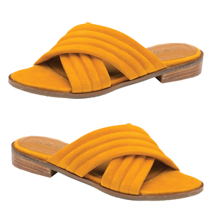 Ravel Paxton Suede Mule Sandals in Mustard Colour