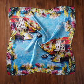 LA MAREY 100% Mulberry Sea Side Pattern Silk Scarf (Size 52x52Cm) - Blue and Multi
