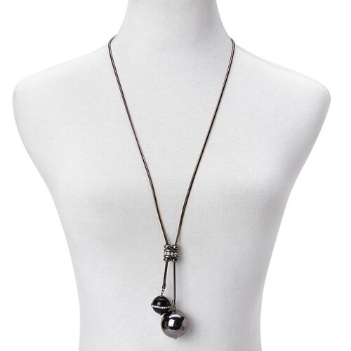 Simulated Black Spinel, White and Magic Colour Austrian Crystal Ball Lariat Necklace (Size 18) in Black and Yellow Tone