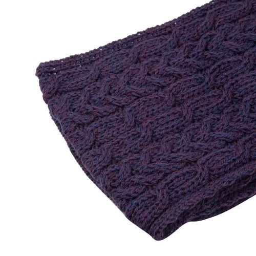 ARAN 100% Pure New Wool Irish Scarf in Purple Colour (Size One)