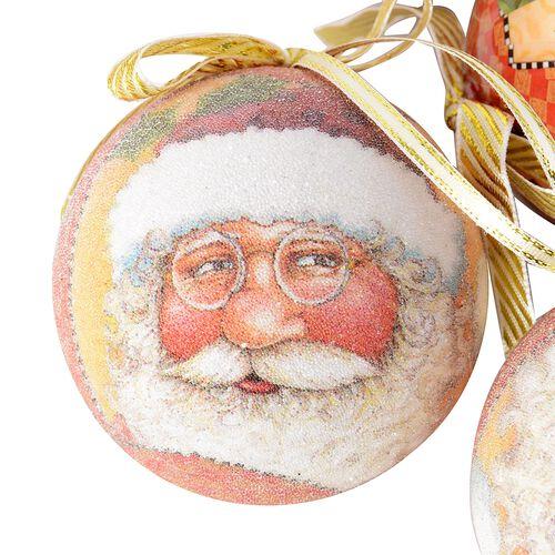 Set of 14 Home Decor Christmas Decoration Baubles Glasses and Gold Ribbon (Size 7.5 Cm) Multi Colour - Santa