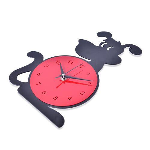 Modern Stylish Black and Red Dog Design Wall Clock