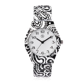 STRADA Japanese Movement Black and White Pattern Water Resistant Watch with Stretchable Strap (Size