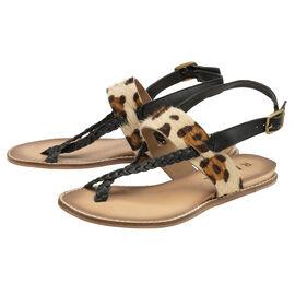 RAVEL Black & Leopard-Print Luna Flat Sandals