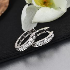 Moissanite Hoop Earrings in Platinum Overlay Sterling Silver