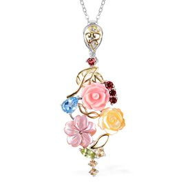Jardin Collection - Pink and Yellow Mother of Pearl and Multi Gemstone Pendant With Chain (Size 18)