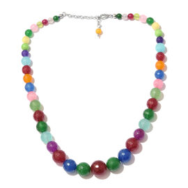 Multi Colour Quartsite Graduated Necklace (Size 18 with 2 inch Extender) with Lobster Lock in Platinum Overlay Sterling Silver 236.250 Ct