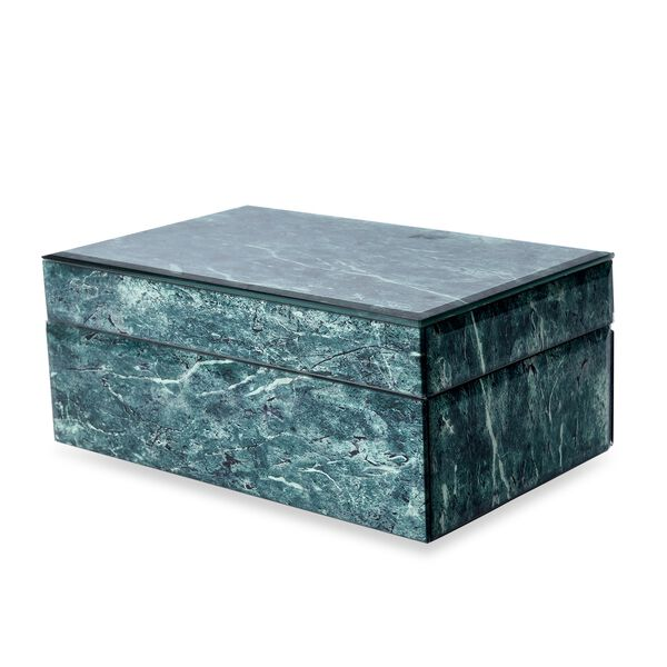 Marble Glass Jewellery Storage Box with Inside Mirror, 7 Ring Rows, 4 Necklace Hook with Pouch and 4 Sections (Size 21x13x8.5 Cm) - Green Malachite