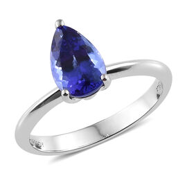 RHAPSODY 950 Platinum AAAA Tanzanite (Pear) Solitaire Ring 1.500 Ct.