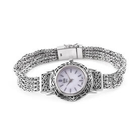 Bali Collection EON 1962 Swiss Movement Watch (Size 7) with Hand Made Borbudur Chain in Sterling Silver, Silver wt. 50 Gms