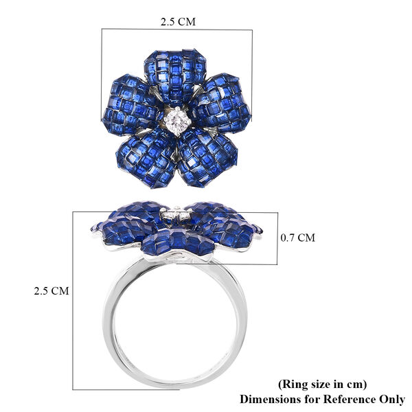 Lustro Stella - Mystery Setting Simulated Blue Sapphire and Simulated Diamond Floral Ring in Rhodium Overlay Sterling Silver