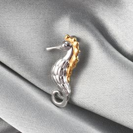 Platinum and Yellow Gold Overlay Sterling Silver Seahorse Pendant