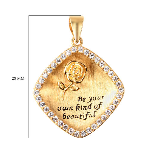 ELANZA Simulated Diamond Square and Embossed Rose Pendant in Black and Yellow Gold Overlay Sterling Silver