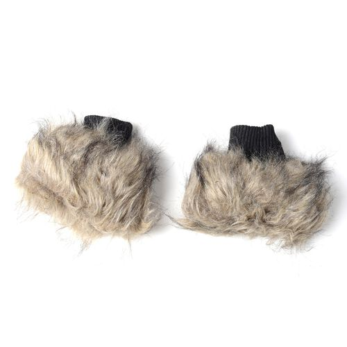 Faux-Fur Wrist Cuffs (16.5x14.5 Cm) and Faux Fur Collar Scarf (Size 96x14.5 Cm)