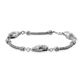 Royal Bali Collection Snake Head Tulang Naga Bracelet in Sterling Silver 22 Grams 7.5 Inch