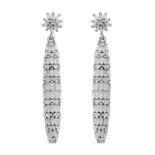 Limited Edition - Designer Inspired Fireworks Diamond (Bgt) Earrings (with Push Back) in Platinum Overlay Sterling Silver 1.000 Ct.