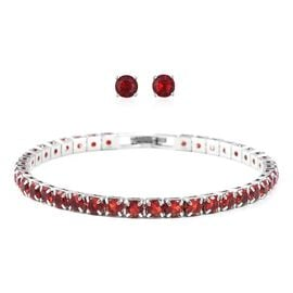Easter Friday Mega Deal-2 Piece Set - Simulated Ruby (Rnd) Bracelet (Size 7.50) and Stud Earrings (with Push Back) in Silver Plated