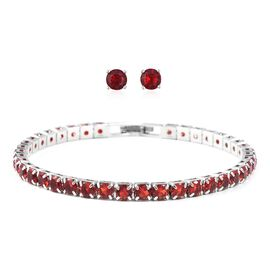 2 Piece Set Simulated Ruby Tennis Bracelet and Stud Earrings in Silver Tone