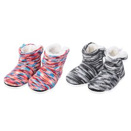 2 Piece Set - Knitted Sherpa Fleece Lined Home Booties (Size 25x15 Cm)