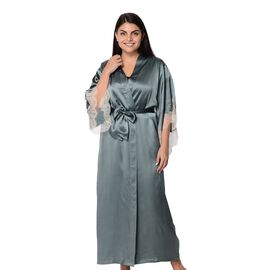 Super Auction- 100% Mulberry Silk Long Robe with Kimono Style Sleeves with Lace in Gift Box in Teal Colour
