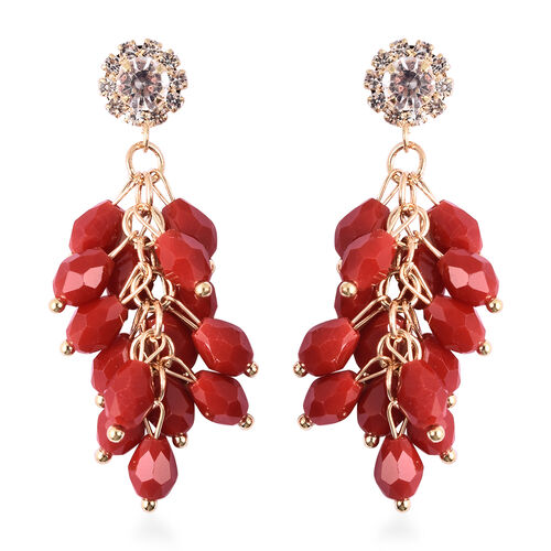 Simulated Ruby, White Austrain Crystal dangling Earrings (with Push Back) in Gold Tone