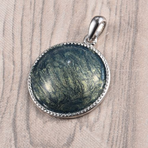 Enamelled Solitaire Pendant in Sterling Silver