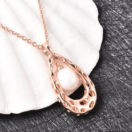 RACHEL GALLEY - Freshwater Pearl Pendant with Chain (Size 30) in Rose Gold Overlay Sterling Silver, Silver wt. 11.48 Gms