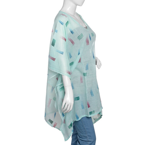 One Time Mega Deal-100% Cotton Green and Multi Colour Kaftan (Size 85x70 Cm)