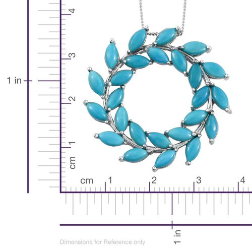 Arizona Sleeping Beauty Turquoise (Mrq) Circle of Life Pendant with Chain in Platinum Overlay Sterling Silver 5.500 Ct.