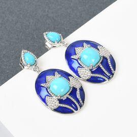 Arizona Sleeping Beauty Turquoise Dangling Enamelled Earrings in Platinum Overlay Sterling Silver 2.00 Ct.