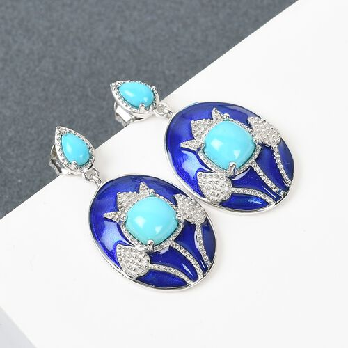 Arizona Sleeping Beauty Turquoise Dangling Enamelled Earrings in Platinum Overlay Sterling Silver 2.00 Ct.