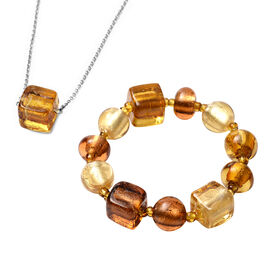 2 Piece Set -  Champagne and Brown Colour Murano Glass Stretchable Bracelet and Necklace (Size 21) i
