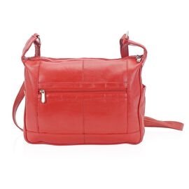 100% Genuine Leather Red Colour Shoulder Bag with External Zipper Pocket (Size 29x23x8 Cm)