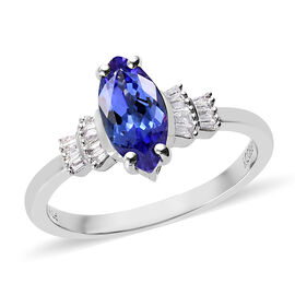 RHAPSODY 950 Platinum AAAA Tanzanite and Diamond (VS/E-F) Ring 1.30 Ct.