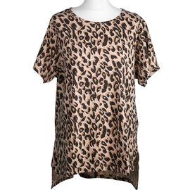SUGARCRISP 100% Cotton Leopard Print Short Sleeve Top Brown