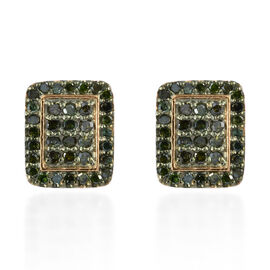 Green Diamond (Rnd) Earrings (with Push Back) in 14K Gold and Green Overlay Sterling Silver 0.500 Ct