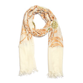 100% Merino Wool Cream, Orange and Multi Colour Floral and Leaves Embroidered Shawl (Size 180X70 Cm)