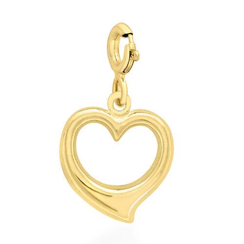 9K Yellow Gold Open Heart Charm