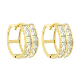9K Yellow Gold Cubic Zirconia Double Row Huggie Earrings (with Clasp)