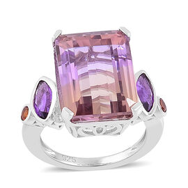 14.28 Ct Anahi Ametrine and Multi Gemstone Classic Ring in Rhodium Plated Silver