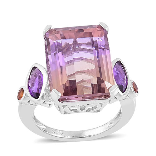 14.28 Ct Anahi Ametrine Classic Ring in Rhodium Plated Silver