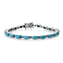 Signature Collection- Arizona Sleeping Beauty Turquoise (Ovl), Diamond Bracelet (Size 7.5) in Platin