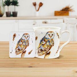 Lesser & Pavey - Country Life Barn Owl Mug and Coaster (MUG-8.5X7.5 CM/ COASTER-10.5X10.5 CM)