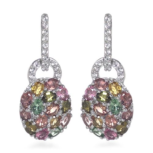 AA Rainbow Tourmaline (Ovl and Rnd), Natural Cambodian Zircon Earrings (with Push Back) in Platinum Overlay Sterling Silver 5.750  Ct, Silver wt 6.95 Gms.