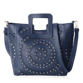 Navy Blue Colour Tote Bag with Flower and Stereoscopic Circles Pattern with Removable Shoulder Strap (Size 34x28x24.5x12 Cm)
