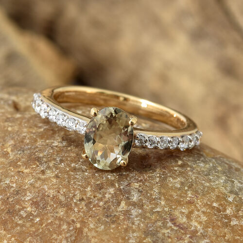 ILIANA 18K Yellow Gold AAA Turkizite (Ovl), Diamond (SI/G-H) Ring 1.300 Ct