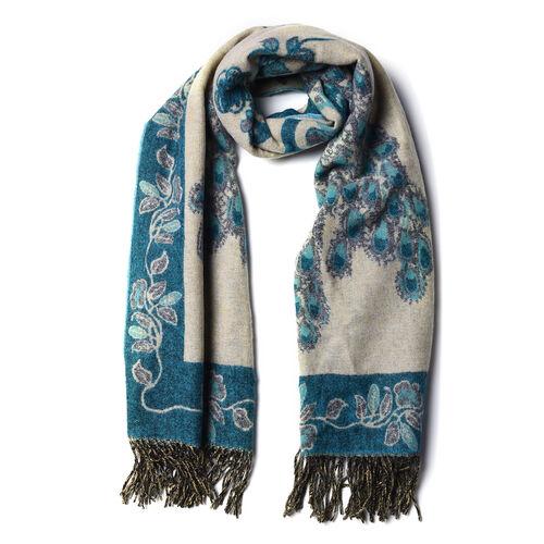 LA MAREY Super Soft 100% Lambswool Jacquard Blue Peacock Pattern Shawl with Tassels (175x70cm)